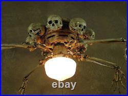 Skeleton Arm Ceiling Fan with Skulls, Halloween Prop, Human Skeletons