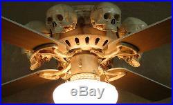 Skeleton Ceiling Fan with Skulls, Halloween Prop, Human Skeletons
