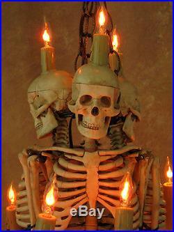 Skeleton Chandelier, with Three 33 inch Skeletons, Halloween Prop, Skulls, NEW