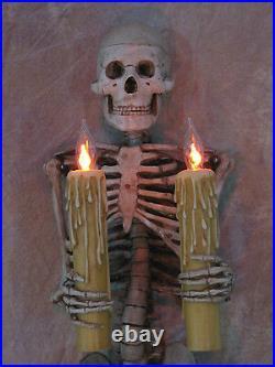 Skeleton Torso Wall Sconce holding Candles, Skull, Halloween Prop