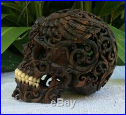 Skull Carved Wooden Realistic Human Skull Filigree Amazing Craving flexible Jaw