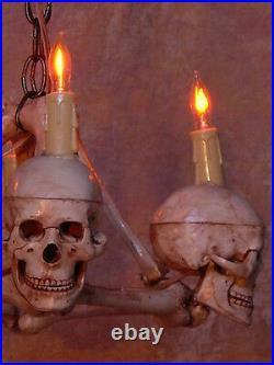 Skull Chandelier, Halloween Prop, Human Skeleton Skulls