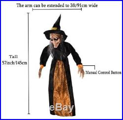 HALLOWEEN LIFESIZE ANIMATED SPELL SPEAKING WITCH PROP DECORATION HAUNTED HOUSE