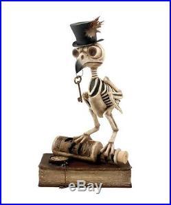 TD5036 Bethany Lowe Grimoire Skeleton Owl On Book Halloween Bones Key Top Hat