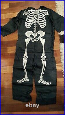 VINTAGE COLLEGEVILLE SKELETON ADULT COSTUME 877 With HOOD & MASK small 34-36