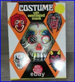 VTG 1972 Ben Cooper Skeleton Costume Vented Mask Sz 12-14 Original Box Halloween