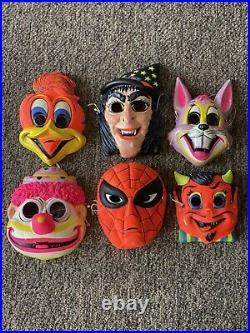 VTG Ben Cooper Rare Halloween Plastic 6 Mask Lot 60s Witch Spider-Man Woody
