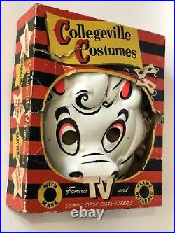 VTG Nightmare Caspers Horse 1950s Collegeville RARE Halloween Costume Box Mask