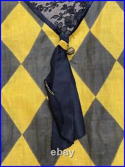 Vintage 1920s Harlequin Halloween Costume Set Bloomers Hat Ruffle Bells 20s Rare