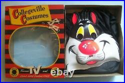 Vintage 1950s Sylvester the Cat Costume by Collegeville in Original Box Size L