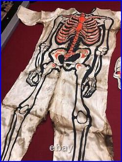 Vintage 1960s Ben Cooper Halloween Mask Skeleton Costume Plastic Monster Skull