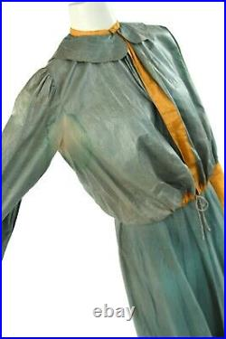 Vintage 20s Halloween Green + Yellow Cotton Four Piece Antique Costume Set S