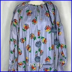 Vintage 60s Handmade Adult Clown Costume Floral Denim Collar Pockets Bells
