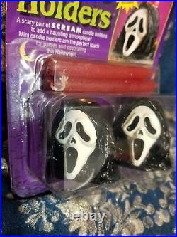Vintage 90s SCREAM Movie GHOSTFACE Candle Holders & Doorcover! Halloween Decor
