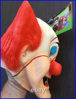 Vintage Ben Cooper Bozo the Clown Halloween Mask Vinyl Comic Heros New with Tags