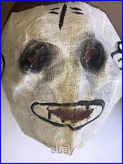 Vintage Halloween 1950s SKELETON COSTUME withORIGINAL Burlap Mask And Hood