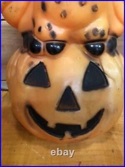 Vintage RARE OWL on Pumpkin Halloween Blow Mold Light Up Jack-O-Lantern 1960s