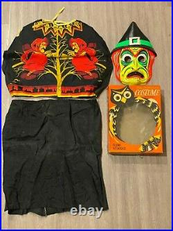 Vintage WITCH Costume Halloween Collegeville 1965 in Original Box Fabric Cape
