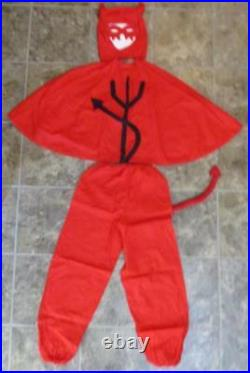 Vtg RARE Halloween Devil Costume 1920s Mask Cape Pitchfork Tail Horns Lucifer
