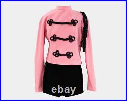 XXS 60s Majorette Costume Size 000 Baton Twirler Outfit Pink & Gray Hot Pants